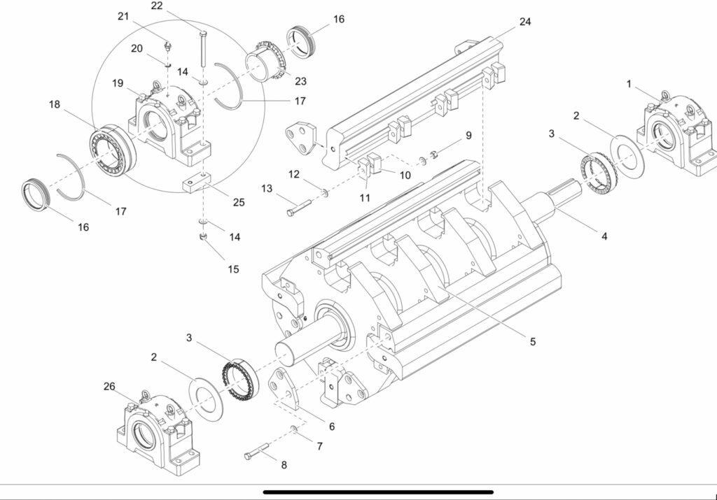 open rotor met vier slaglijsten